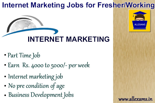 Internet Marketing Jobs for Fresher/Working in Online Examination